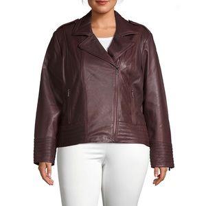 Badgley Mischka Plus Asymmetrical Leather Jacket